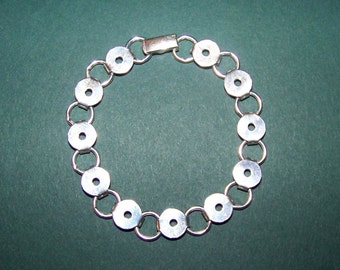 Sterling Silver Solid Silver Disc and Loop Bracelet For Gluing Or Soldering.