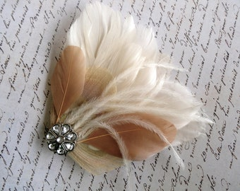 LINNY Ivory and Champagne Peacock Feather Hair Clip, Feather Fascinator