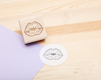 Kissing Lips Rubber Stamp