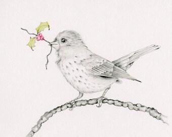 Bird Drawing Giclee Fine Art Print of my Original  Pencil Drawing  Artwork Bird Decor Bird Pencil Drawing Bird Art Print Minimalist Bird Art