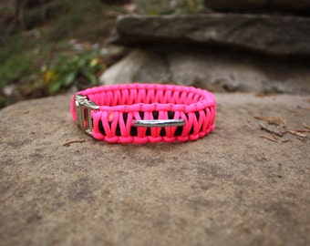 Paracord Dog Collar - Neon Pink & Black