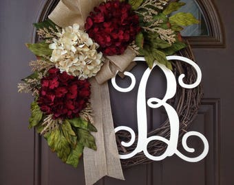 All Season Wreath for Front Door - Front Door Monogrammed Wreath- Rustic Grapevine Wreath with Burlap - Personalized Gifts- Year Round Decor