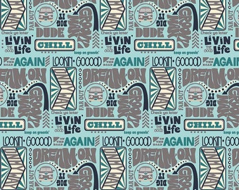 Groovin Words Aqua - Keep on Groovin Collection - Riley Blake Designs - C5242-AQUA (sold by the 1/2 yard)
