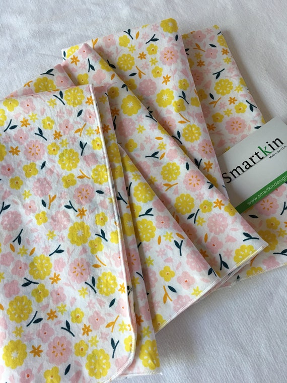 Organic Cotton Yellow Floral All Cotton Dinner Cloth Napkin 18x18 in Size by Smartkin