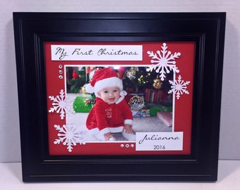 My First Christmas Personalized Photo Mat - 8x10 UNFRAMED Insert for Horizontal or Vertical 4x6 or 5x7 Photo