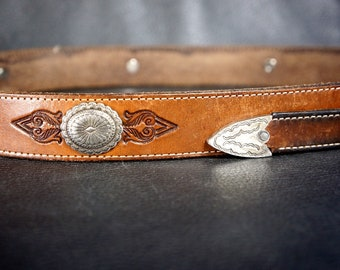 Western Concho Leather Belt - Handmade