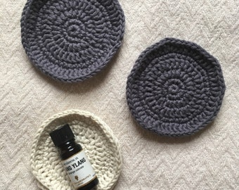 Crochet Face Scrubbies | Set of 4 Round Crochet Scrubbies | Eco Friendly Make Up Remover Pads