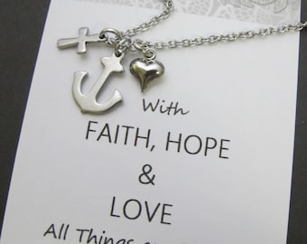 Faith Hope Love | Necklace | Stainless steel | Cross Anchor Heart necklace | encouragement gift | encouragement Jewelry | best friend gift