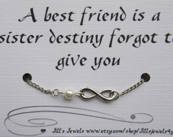 Best Friend Gift- Friendship Infinity Charm Anklet with Pearl and Inspirational Card- Bridesmaids Gift - Friendship Anklet - Quote Gift