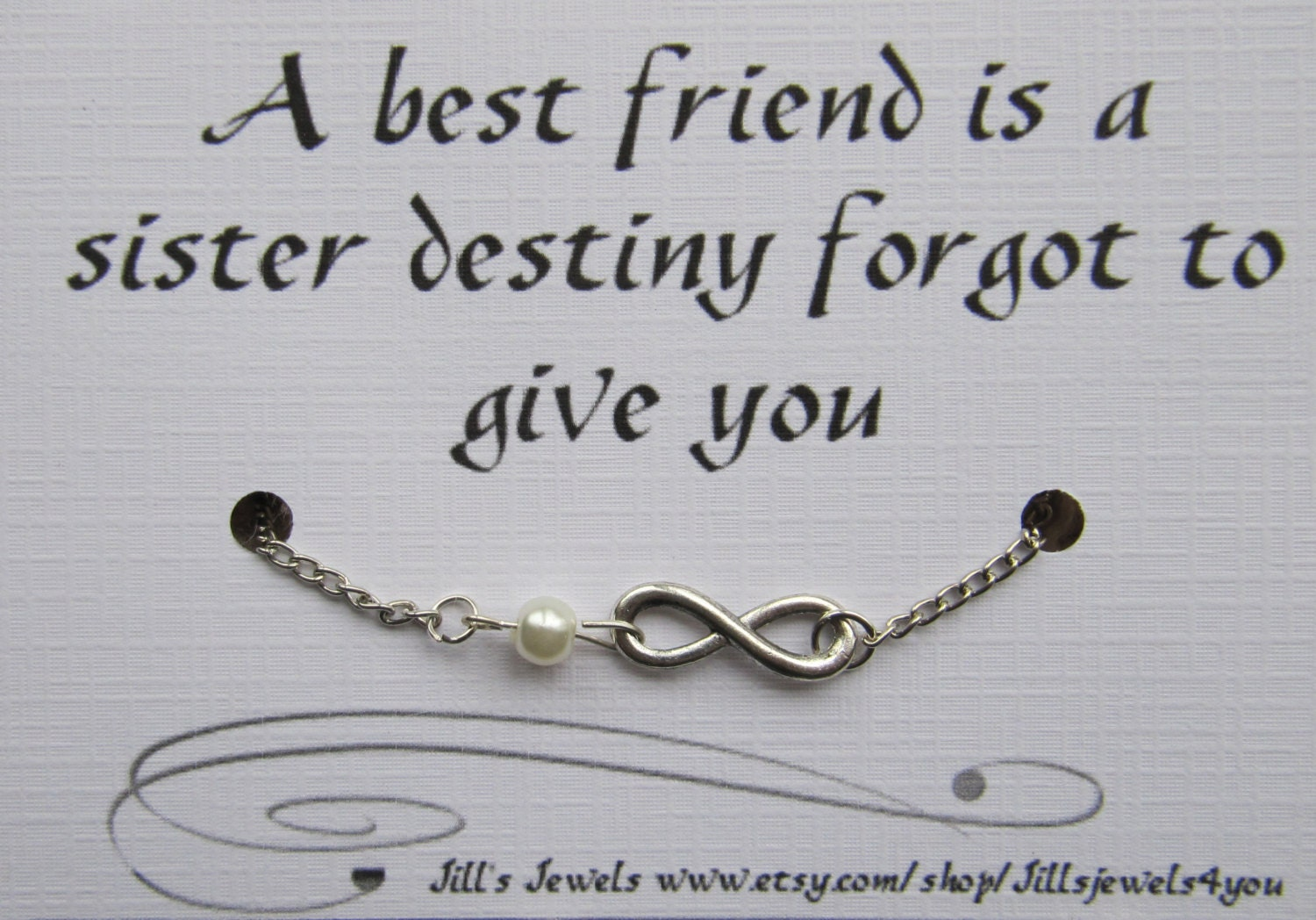 Inspirational Quote About Friendship Best Friend Gift Friendship Infinity Charm Anklet With Pearl