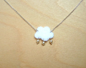 Silver 925 necklace 'Cloud', felt and pearls