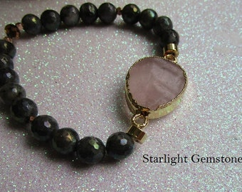 Pink Agate Large Gemstone Focal Bead with Faceted Titanium Coated Black Labradorite Gemstone Beaded Bracelet With Rose Gold Vermeil Spacers
