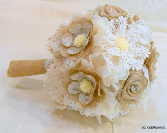 Lace Bouquet, Bridal Bouquet, Fabric Bouquet, Burlap Bouquet, Vintage Bouquet, Burlap and Lace, Keepsake Bouquet, Alternative Bouquet
