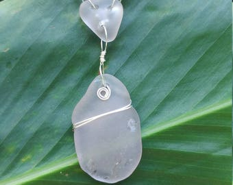 Lavender seaglass pendant necklace wrapped in sterling silver on sterling silver chain