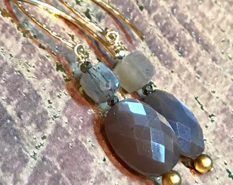 Faceted Oval Chocolate Moonstone and Rutilated moonstone gemstone Earrings, with gold filled textured french ear-wires (E120)