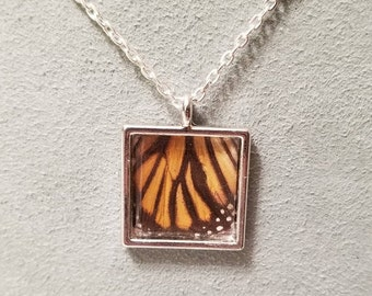 Square real butterfly wing necklace