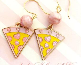 KITSCHY PINK PIZZA Earrings, Whimsical Earrings, Pink Earrings