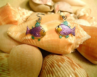 Purple and Turquoise   Fish Earrings. Hand Painted.