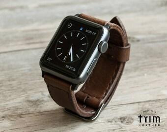 Apple Watch Leather Band Watchbands Series 1 2 3 in Heritage Brown Dark Brown 42mm 38mm [Handmade] [Custom Colors]