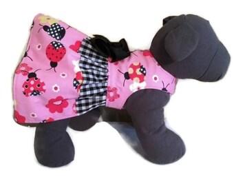 Dog Dress, Dog Clothes, Ladybug Dog Dress, Pink Dog Harness, Pink Dog Dress, Dog Harness Dress, Dog Harness, Gingham Dog Dress