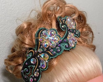 Irish Dance Embroidered Floral Hair side tiara with 16mm teardrop AB Diamante rhinestones