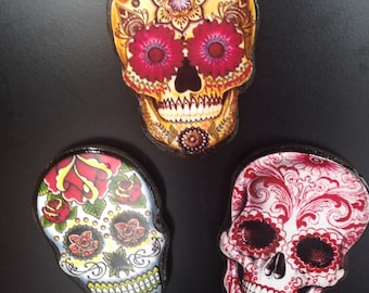 Set of 3 Day of the Dead Sugar Skull Magnets