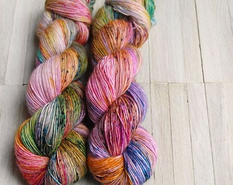 Hand Dyed Sock Yarn Superwash Merino - Single Merino Wool - Speckled yarn merino - Yarntoyou  - SKINNY MERINO - Carneval
