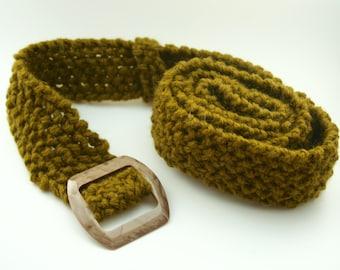 Knitted Olive Green Belt