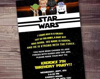 Star Wars Birthday Greeting Free ~ Fast ship star wars invitation free customization