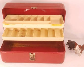 Vintage Tackle Box by Victor, Apple Red Metal Tackle Box with Plastic Interior Trays, 13.5x6.5x6, Vintage Fishing Gear,  Retro Tackle Box