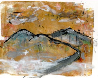 Limited Edition Print of original Acrylic Abstract Artwork - Mountains.
