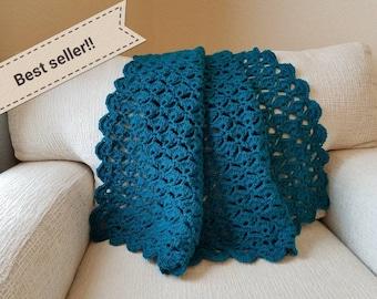 Crochet Floating Shells Afghan, Elegant Handmade Throw, Teal Accent Blanket for Home Decor