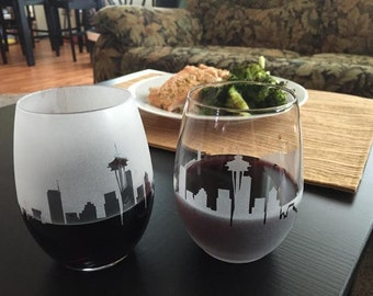 Seattle Skyline Stemless Set