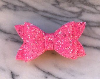 Victoria Glitter Bow, Glitter Hair Clips, Hot Pink Bow, Sparkle Bow