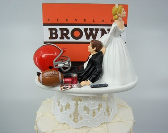 Cleveland BROWNS FOOTBALL Bride & Groom Wedding Cake Topper Sports FUNNY