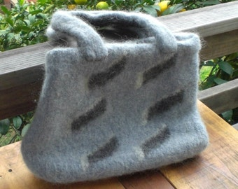 Tote bag, hand knitted and felted  of Icelandic Lopi wool