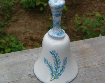 White Bell with Bluebonnets | Ceramic Bell | Decorative Bell