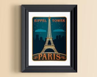 Eiffel Tower print | Eiffel Tower decor | Paris wall art | France poster | Eiffel Tower at night | Paris decor | Eiffel Tower art