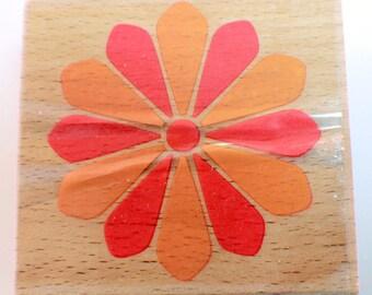 Pinwheel Flower Design Studio G Wooden Rubber Stamp