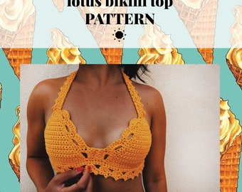 Crochet Pattern, LOTUS Bikini Top, Bralette