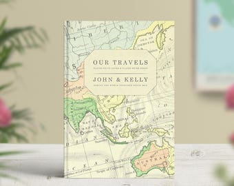 Our little book of adventures travel notebook bucket list vintage map journal personalised travel bucket list world travel journal traveller notebook bullet journal adventures trip couples gift gumiabroncs Images