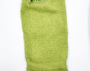 Green crocheted hanging towel