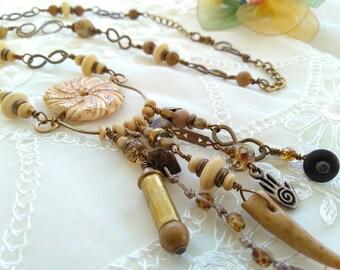 Eye Catching Organic Boho Amulet Necklace