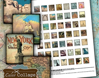 World Travel Digital Collage Sheet Scrabble Tile Size Vintage Postcard Images for Game Tile Jewelry Resin and Glass Pendants Calico Collage