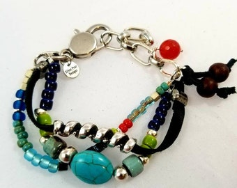Unisex Multi Strand leather Bracelet silver beads ceramic beads glass beads clay beads turquoise beads copper beads lobster clasp chain