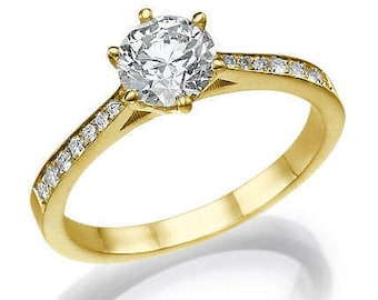 """18k GIA Diamond Engagement Ring 0.82 carat K/SI1 """"Connection"""" Yellow/ Rose gold 6 Prong ring, Anniversary ring, Gift for her, Christmas gift"""