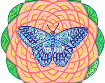 Cosmic Circle, Spiral Butterfly, Sacred Geometry, SunCatcher, Meditation, Home & Car decor, Boho, No adhesive Vinyl Sticker, Spiritual gift