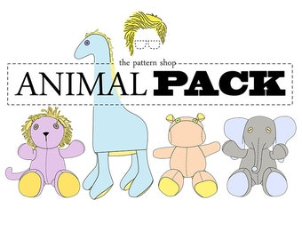 Stuffed Animal Sewing Pattern Set | Giraffe | Elephant | Lion | Hippo