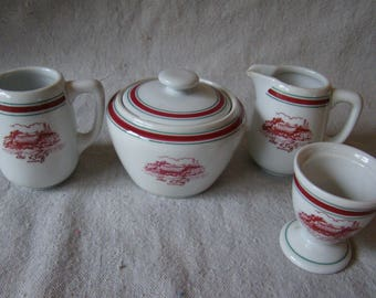 Vintage Restaurant  Hotel Ware Set Sugar Bowl Creamers Egg Cup Bavaria Germany The Reef's Bermuda 171657