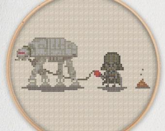 Darth Vader AT-AT Walk Star Wars Cross Stitch Pattern - Instant Download PDF